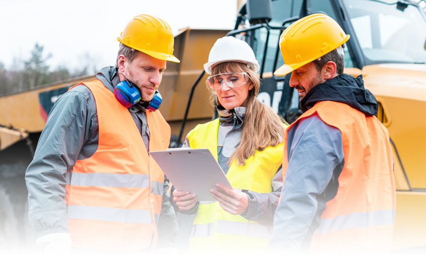 workers receiving safety training